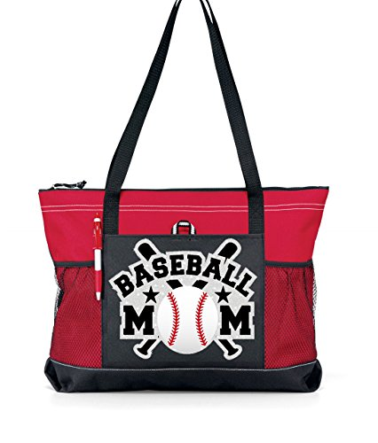Glitter Baseball Mom Tote. Silver glitter with Bat with white glitter Baseball on a Large Red and Black Tote Red Glitter Bat