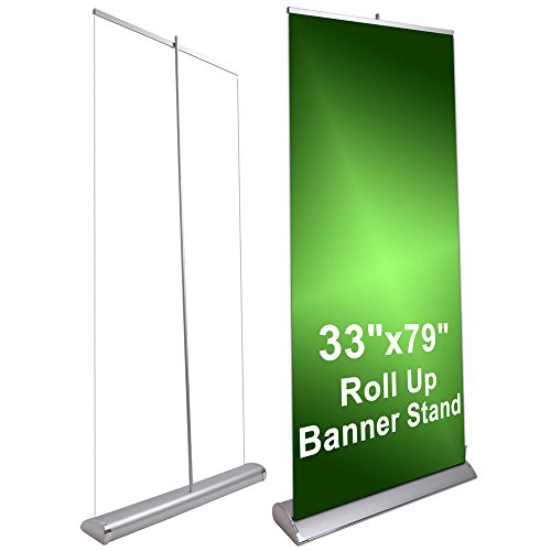 Banner Display (Deluxe L Type 33x79 Retractable Roll Pop Up Banner Stand Trade Show Sign Display)