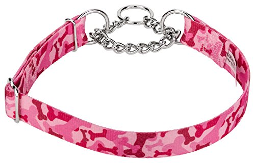 Country Brook Design Pink Bone Camo Half Check Dog Collar - Large