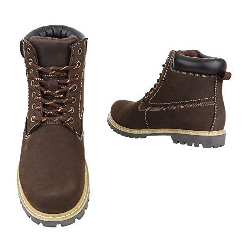 Ital-Design Stiefeletten Herren Leder Schuhe Desert Boots Blockabsatz Leicht Gefütterte Schnürsenkel Boots Braun