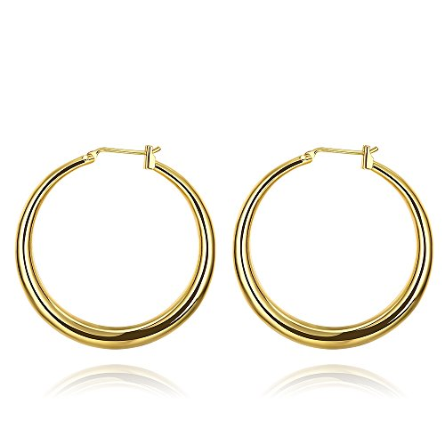 Religious Jewelry Store 14k Earrings - 35mm Pierced Round Hoop Endless Earrings Gold For Women Girls Nice Gift (gold)
