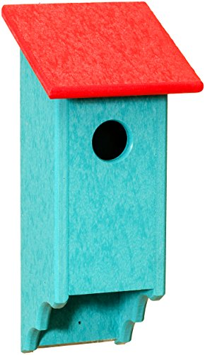 Aruba Recycled Plastic Materials (Recycled Plastic Amish Bluebird House, Handcrafted in the USA from Easy to Clean, Eco-friendly Materials (Red & Aruba Blue))