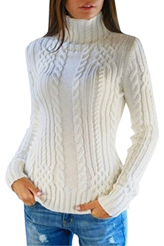 Pink Queen Women's Cable Knit Crewneck Casual Pullover Sweater White - White Knit Sweater Cable