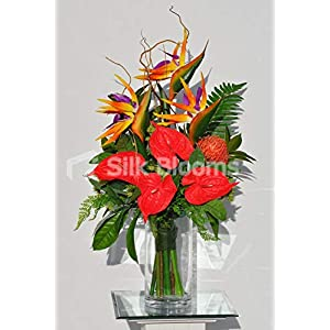Silk Blooms Ltd Artificial Red Fresh Touch Anthurium and Orange Bird of Paradise Arrangement w/Proteas and Monstera Leaves