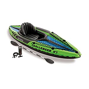 Intex Challenger K1 Kayak, 1-Human being Inflatable Kayak Set with Aluminum Oars and High Output Air Pump