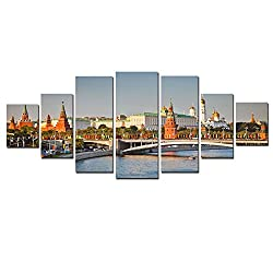 Startonight Glow in the Dark, Huge Canvas Wall Art Kremlin On The Bank Of Moscow River, Home Decor, Dual View Surprise Artwork Modern Framed Wall Art Set of 7 Panels Total 39.37 x 94.49 inch