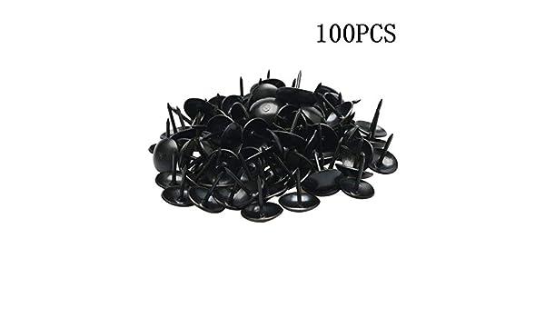 SALAKA 100Pcs Clavo de Metal Negro Clavija de Empuje Sombrero Redondo Chincheta