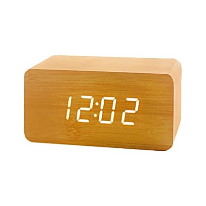 Reloj Digital Despertador LED ,Feicuan Cube Madera Digital Alarma con Hora Date temperatura Display Alternately