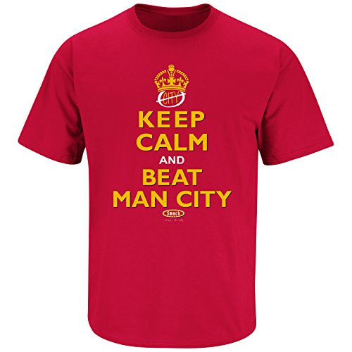 - Smack Apparel Manchester United Fans. Keep Calm and Beat Man City Red T Shirt (Sm-5X) (Medium)