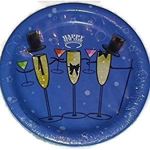 Happy New Year Champagne Toast Party Plates (54 Count)