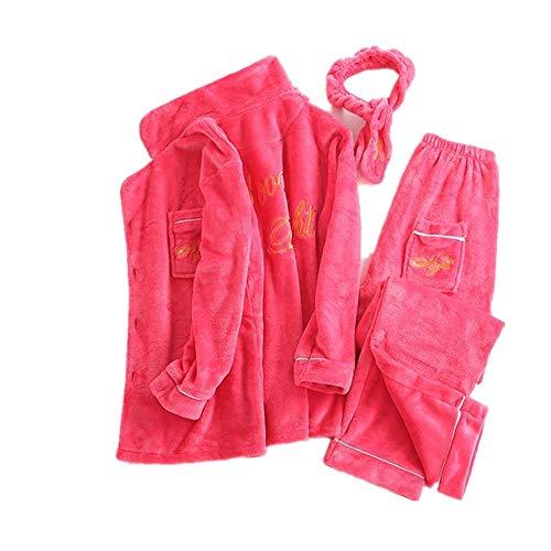 Otoño De Red Piezas Nuevo Bordados Mujer E Mmllse Pijamas Terciopelo Tres Invierno Coral 7qERnzPng