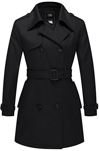 Tan Double Breasted Belt Trench - ZSHOW Women's Double-Breasted Twill Belted Trench Coat US Large Black