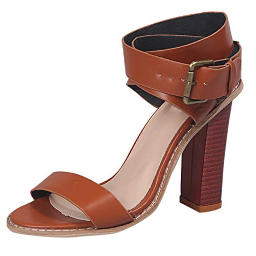 (✔ Hypothesis_X ☎ Women's Ankle Strap Platform High Chunky Heels Party Sandal Open Toe Square High Heels Sandals Brown)