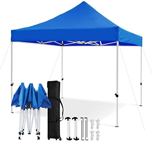 Leader Accessories Premium 10 x 10 Pop up Canopy Tent Commercial Instant Shelter Straight Leg with Wheeled Carry Bag, Blue