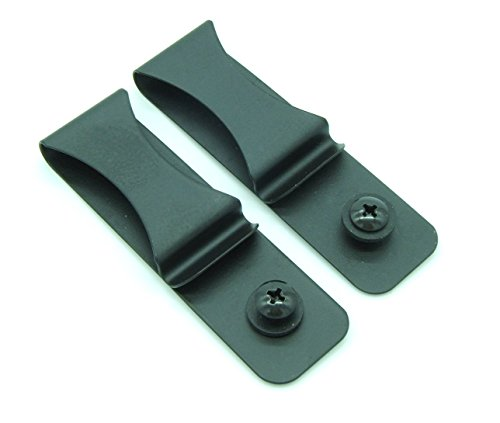 Heezy Gun Holster Black Steel Spring Clip with Hole/Hardware IWB OWB for Kydex, Leather Holster Making Sheaths (2-Pack)