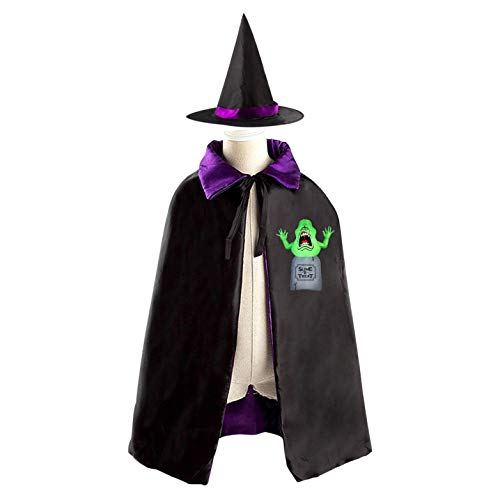 69PF-1 Halloween Cape Matching Witch Hat Tombstones Monsters Wizard Cloak Masquerade Cosplay Custume Robe Kids/Boy/Girl Gift Purple -