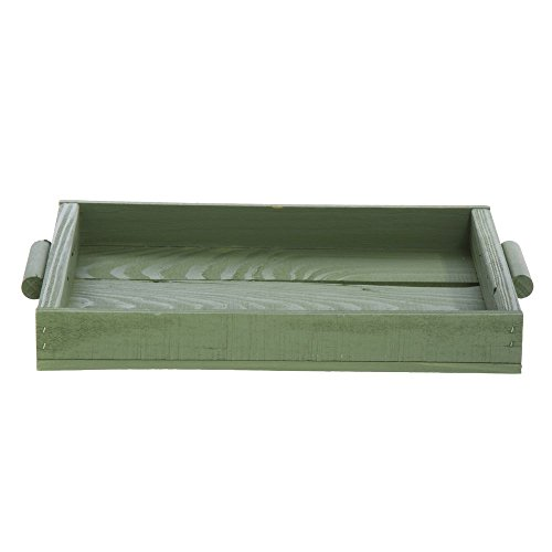 Wooden Display Tray With Handles green - 15 1/2 W x 10 1/2 D x 2