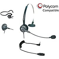 Polycom Compatible Tria VoIP Headset Bundle | Telephone Interface Included | Earwrap, Headband and Neckband | For SoundPoint® Polycom Phones with 2.5mm Headset Jack: SE220, SE225, ip301, ip320, ip321, ip330, ip331, 3616, 3626, 3641, 3645, 8020, 8030