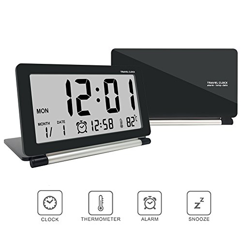 Digital alarm clock,travel clock,econoLED Multifunction Silent LCD Digital Large Screen Travel Desk Electronic Alarm Clock, Date/Time/Calendar/Temperature Display, Snooze, Folding Black & Silver US Black Folding Clock