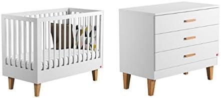 Vox Pack Cuna 60 x 120 cm, Color Blanco + colchón + cómoda Cambiador 3 tioirs + Plan Cambiador Lounge: Amazon.es: Hogar