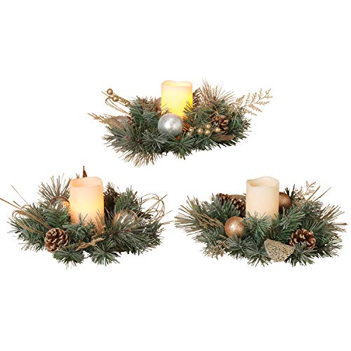 Set of 3 Christmas Candle Rings - 10 inches Diameter- Gold Silver Artificial Pine by GER