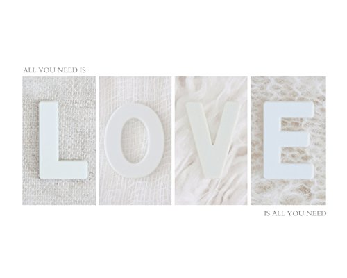 - Minimalism White Home Décor Wall Art Print, Inspirational Quote Artwork Poster, All you Need is Love