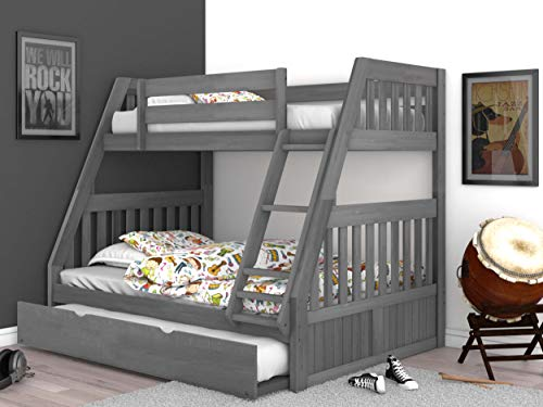 Discovery World Furniture Charcoal Twin over Full Bunk Bed with Trundle