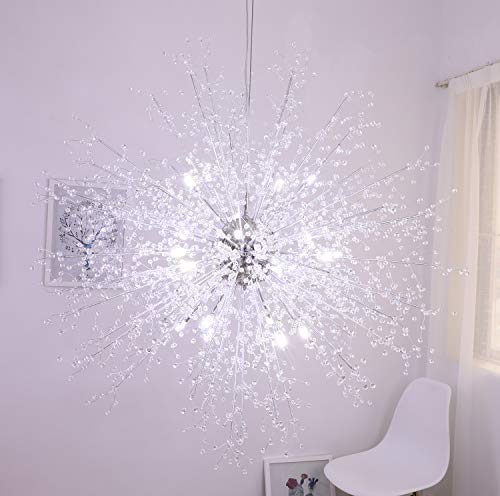 GDNS Firework Chandelier,Contemporary Crystal Chandelier,Ceiling Lights, Pendant Lighting Fixtures for Living Room Bedroom Restaurant Porch,Dia 47.5 Inches