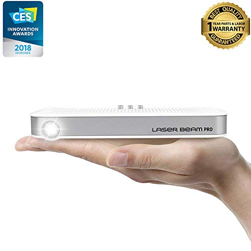 Portable Mini Projector [Laser Beam Pro C200] 2017-2018 CES Awarded Focus-Free FDA Eye Safety Class1 200 Lumens 4K Input 768P HD Output 150