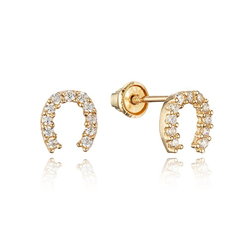 Price comparison product image 14k Gold Plated Brass Horseshoe Cubic Zirconia Screwback Girls Earrings with Sterling Silver Post