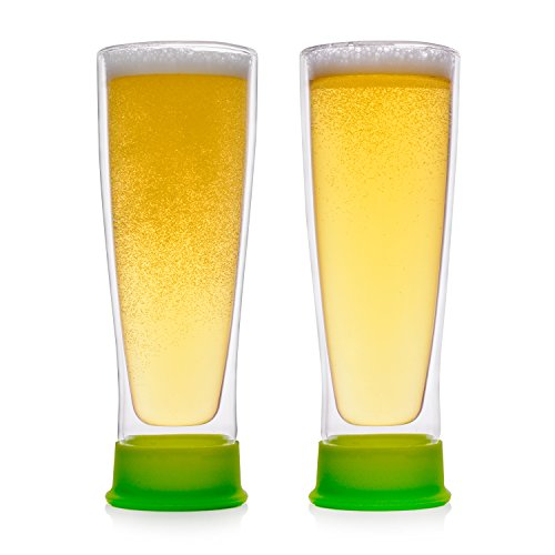 (Eparé Insulated Beer Drinking Glasses (13 oz, 390 ml) - Double Wall Tumbler Glass Mug - Cup for Pilsner, Craft IPA, Juice, or Water - 2 Glasses)
