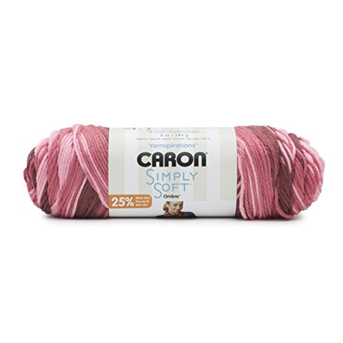 Caron Simply Soft Ombre Yarn (4) Medium Worsted Gauge 100% Acrylic - 5 oz -   Rosewood -  Machine Wash & Dry