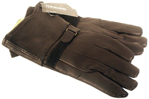 Napa Classic Motorcycle Style Deerskin Leather Gloves with Thinsulate Lining (Black, Large)