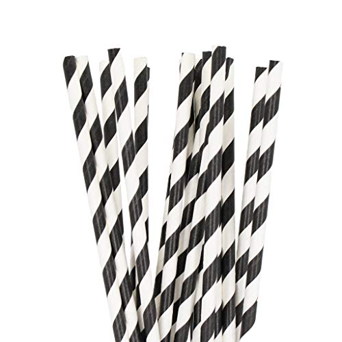 240 Biodegradable Paper Straws | Eco Friendly Fun Party Colorful Long and Sturdy Straw Bulk 240 Straw Pack (Black and White Swirl)]()