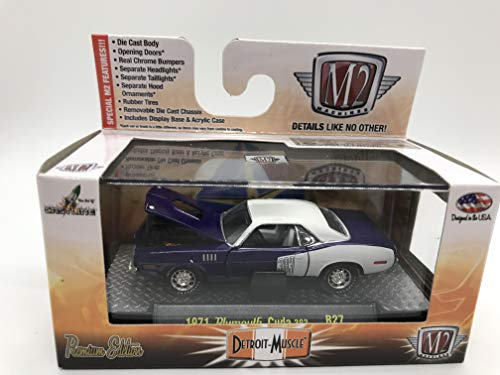 M2 Machines Detroit-Muscle 1971 Plymouth Cuda 383 1:64 Scale R27 14-55 Dark Purple/White Details Like NO Other! Over 42 Parts