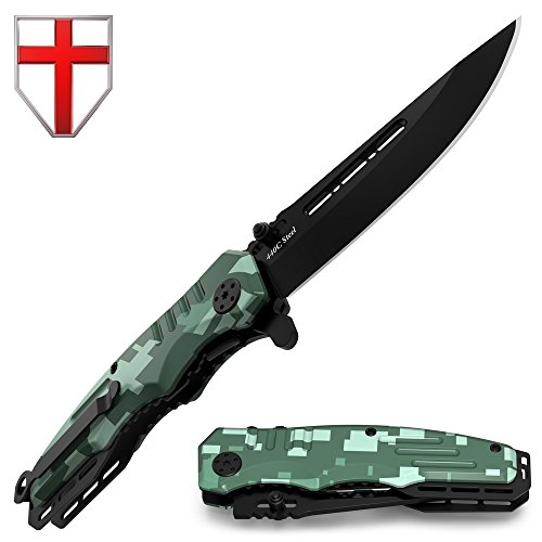 Spring Assisted Knife - Pocket Folding Knife - Military Style - Boy Scouts Knife - Tactical Knife - Good for Camping, Indoor and Outdoor Activities 6681 N