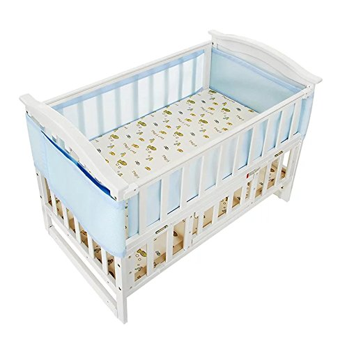 Holoras Baby Breathable Mesh Crib Liner, Nursery Crib Bumper for Standard Cribs, Machine Washable and Adjustable Velcro, 2 Panels, Blue by Holoras
