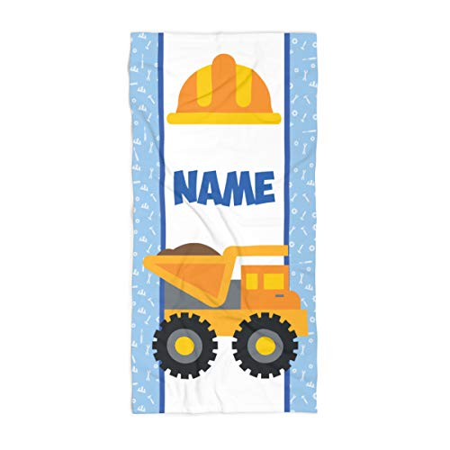 Personalized Construction Truck Polycotton Towel for Kids - Boys Girls Baby Toddlers Infants Classic Dump Toy Trucks Theme Towels for Beach Bath Athletic or Kitchen (Bath Towel 60