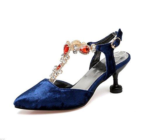 Damen Gericht Schuhe Hochzeit Party Pumps Blau Schuhe Frauen MNII Qualität Ferse Kristall Gute Strass Mode FwqfpdI4