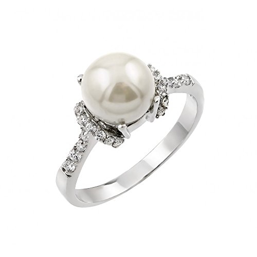 Exquisite Sterling Silver Rhodium Plated Synthetic Pearl Cluster Ring - (Pearl Cluster Rhodium Silver Ring)