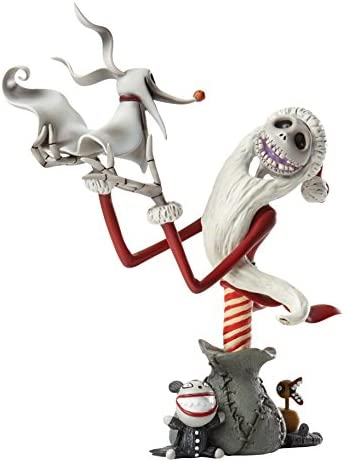 Enesco Grand Jester Studios The Nightmare Before Christmas Santa Jack Skellington and Zero Stone Resin Figurine