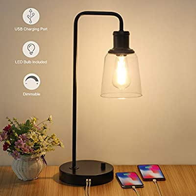Industrial Table Lamp, Vintage Nightstand Lamp with Dual USB Ports Antique Office Lamp Glass Shade Metal Desk Reading Lamp for Bedroom, Living Room, Dorm, 6W 2700K Dimmable LED Edison Bulb Included - 【Dimension】Height: 20.3in, base diameter: 7.1inch, Weight: 3.72Ib. Please read more size information on the second photo carefully before purchase. The dimmable table lamp can be used as bedside table lamp, reading lamp, office lamp, nightstand table lamp, dorm room lamp. 【6W Dimmable LED Bulb Included】The industrial table lamp comes with a ST58 dimmable LED Vintage Bulb in the package. With a rotary switch on the base, the 2700K filament bulb can be adjusted to desired brightness, providing a glare free, non-flickering and natural lighting for reading, working and studying. 【Integrated Dual USB Port】Our side table lamp with USB ports can charge two devices, such as kindle readers, iPhone and tablets at the same time. The USB port functions regardless of whether the lamp is on or off. Note: If you charge two devices simultaneously, the total current of two charging ports is 2.1A. - lamps, bedroom-decor, bedroom - 41XVa8ZugDL. SS400  -