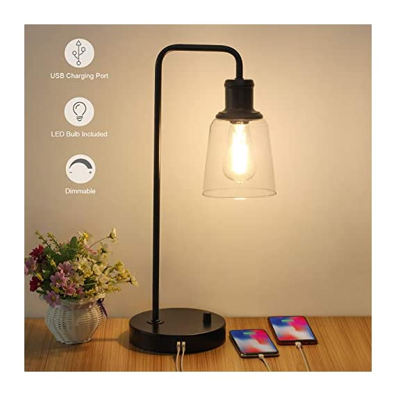 Industrial Table Lamp, Vintage Nightstand Lamp with Dual USB Ports Antique Office Lamp Glass Shade Metal Desk Reading Lamp for Bedroom, Living Room, Dorm, 6W 2700K Dimmable LED Edison Bulb Included - 【Dimension】Height: 20.3in, base diameter: 7.1inch, Weight: 3.72Ib. Please read more size information on the second photo carefully before purchase. The dimmable table lamp can be used as bedside table lamp, reading lamp, office lamp, nightstand table lamp, dorm room lamp. 【6W Dimmable LED Bulb Included】The industrial table lamp comes with a ST58 dimmable LED Vintage Bulb in the package. With a rotary switch on the base, the 2700K filament bulb can be adjusted to desired brightness, providing a glare free, non-flickering and natural lighting for reading, working and studying. 【Integrated Dual USB Port】Our side table lamp with USB ports can charge two devices, such as kindle readers, iPhone and tablets at the same time. The USB port functions regardless of whether the lamp is on or off. Note: If you charge two devices simultaneously, the total current of two charging ports is 2.1A. - lamps, bedroom-decor, bedroom - 41XVa8ZugDL. SS570  -