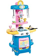 Smoby Peppa Pig 310714 Keuken, grote kinderkeuken met veel servies en accessoires, met fornuis, oven, spoelbak, koffiezetapparaat, voor kinderen vanaf 18 maanden, roze
