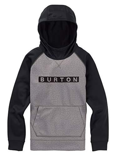 Burton Boys' Crown Bonded Pullover Hoodie, Monument Heather/True Black, Medium - Fleece Burton Hooded Jacket