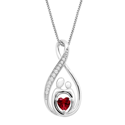 3/4 ct Created Ruby & White Sapphire Mother & Child Pendant Necklace in Sterling Silver