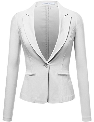 FPT Womens Fitted Stretchy Boyfriend Blazer IVORY LARGE (Tweed Fitted Blazer)