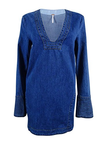 Free People Womens Cotton Bell Sleeve Tunic Top Denim S