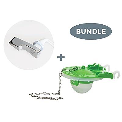 ELBA Bundle Pack of Universal Toilet Lever and Flapper Replacement Kit, Toilet Repair Set, Includes One Toilet Flapper and One Toilet Flush Arm
