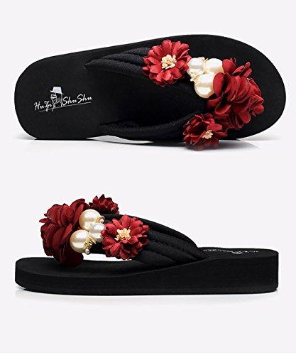 CHAOXIANG Chanclas Para Mujer Antideslizante Zapatillas De Tacón Alto Sandalias De Surf Nuevo Zapatos De Playa Del Verano ( Color : C , Tamaño : EU38/UK5/CN39 ) A